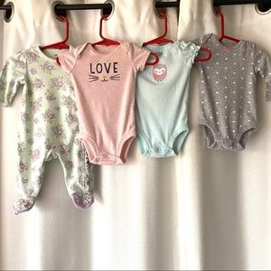 Lot Of 4 One Piece/Sleeper Little Me Carter's 3mos